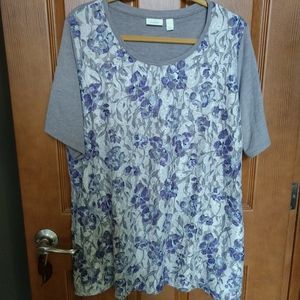 Logo lounge Lori Goldstein purple lace t-shirt XL